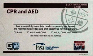 ASHI CPR Course Completion Certification Cards (5) ECCPR-15