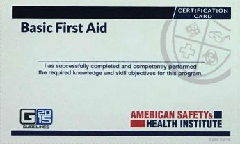 ASHI Basic First Aid Course Completion Cards (5) ECBFA-15