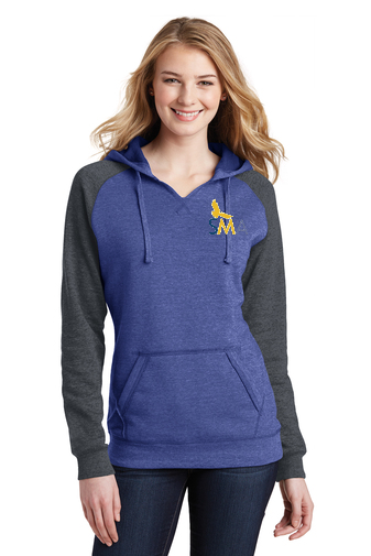 SMA District® Ladies Lightweight Fleece Raglan Hoodie DT296