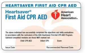 Heartsaver CPR AED / First Aid (COMBO) Course Completion eCard 20-3002