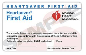 Heartsaver First Aid Course Completion eCard- 15-3005