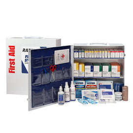 RADNOR® White Metal Portable Or Wall Mounted 100 - 150 Person 3 Shelf First Aid Cabinet With Medicinals