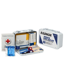 RADNOR® White Metal Portable Or Wall Mounted 10 Person Vehicle First Aid Kit