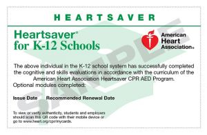 Heartsaver K-12 Course Completion eCard 15-3011