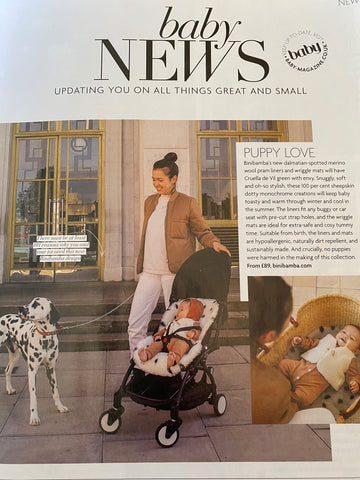 Binibamba Dalmatian sheepskin buggy liners featured in baby magazine
