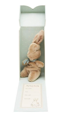 bunny in a box baby shower gift from liberty London