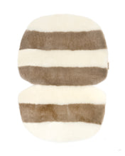 Load image into Gallery viewer, liberty London exclusive sheepskin pram liner by binibamba in off white and toast stripe
