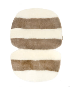 liberty London exclusive sheepskin pram liner by binibamba in off white and toast stripe