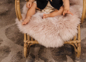 British Sheepskin Rug For Baby In Large Sheepskin Rug In Our Rose Pink Colour With Super Soft Deep Pile. The Perfect Baby Shower Gift.