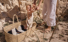 Load image into Gallery viewer, Stripe sheepskin liner in a Moses basket