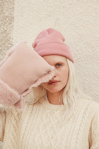 rose pink sheepskin buggy gloves by binibamba