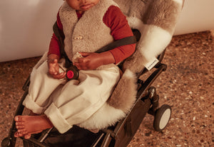 stripe sheepskin pram liner by binibamba for liberty London