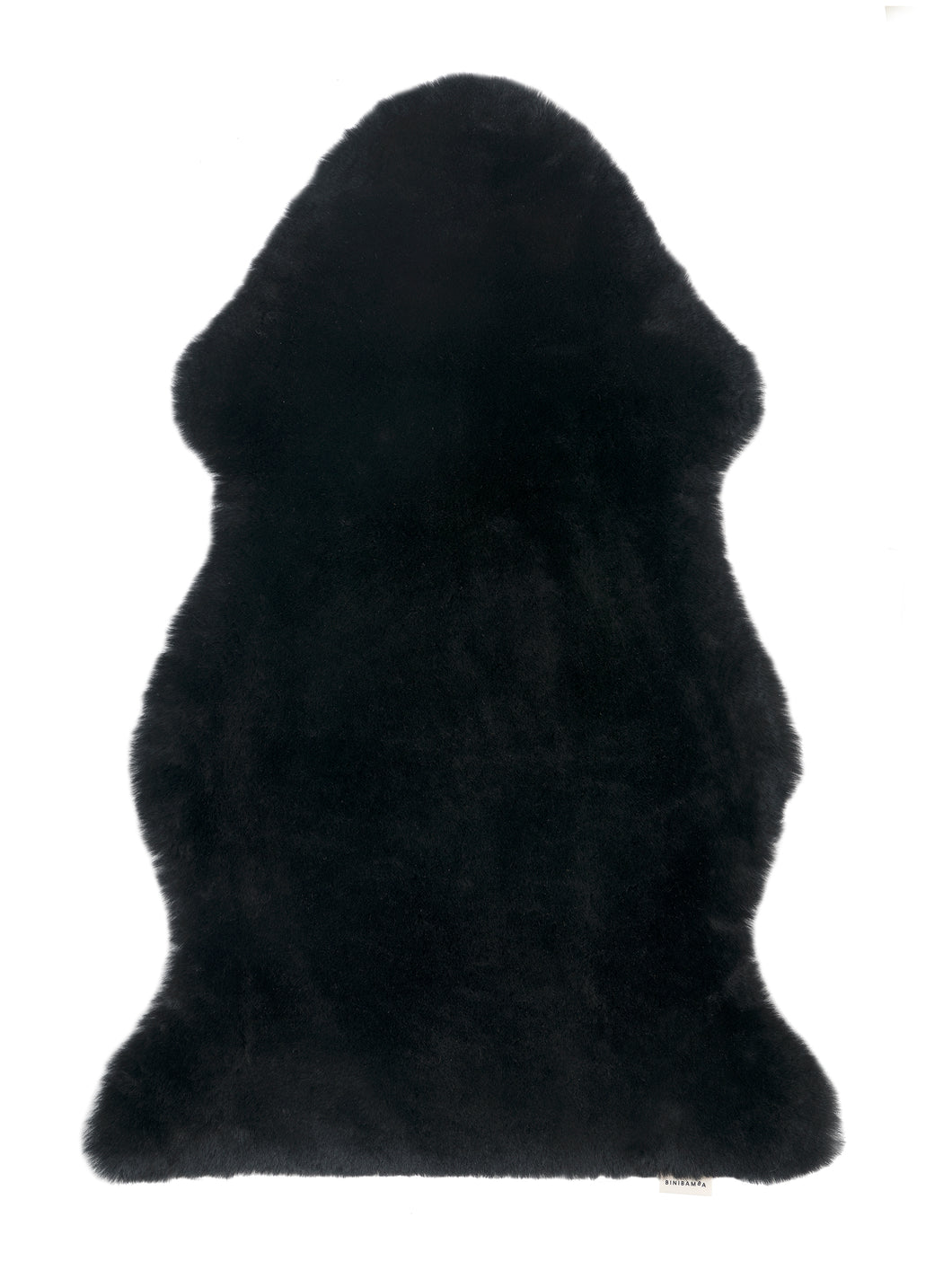 Binibamba black sheepskin wriggle mat rug for babies to use as a natural playmat