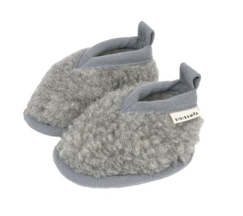 SMALLABLE X BINIBAMBA merino baby booties limited edition colour in pebble grey for newborn babies