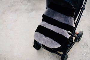 tiba & noir grey and black stripe pram liner
