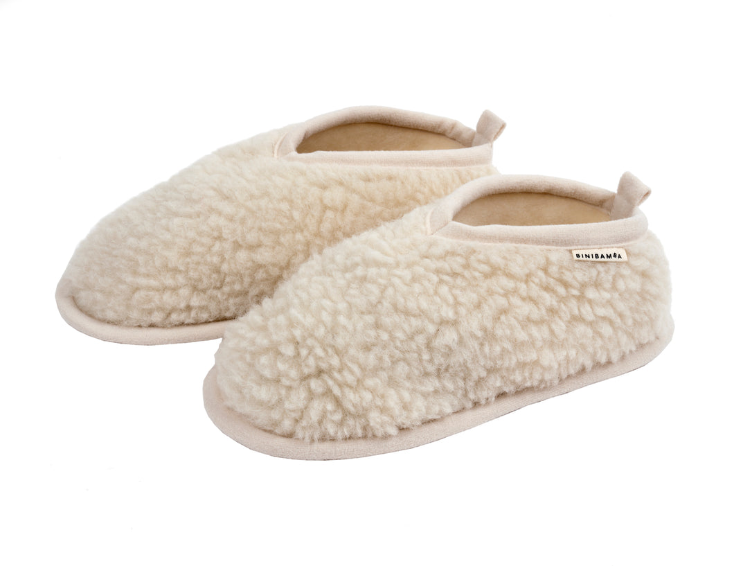 Merino slippers for women in our milk natural shade with leather sole and available in one size