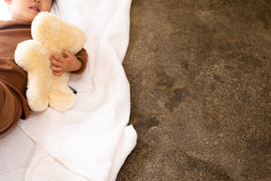 sheepskin teddy bear in honey binibear