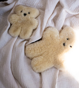 sheepskin teddy bear in milk colours, the perfect newborn gift for any baby