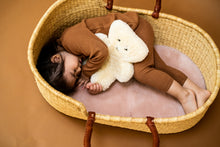 Load image into Gallery viewer, Binibear teddy bear with a little girl lying in a Moses basket