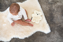 Load image into Gallery viewer, baby sat on sheepskin rug with binibear sheepskin teddy bear