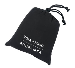 Tiba and Marl X binibamba limited edition black dustbag for our sheepskin buggy liners