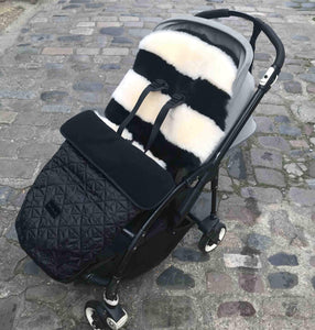 TIBA + MARL FOOTMUFF WITH BINIBAMBA SHEEPSKIN BUGGY LINER IN PUSHCHAIR