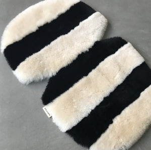 monochrome stripe sheepskin pram liner