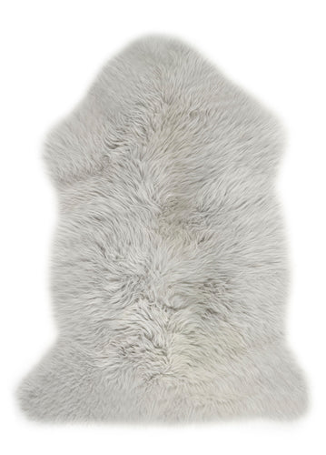 British Sheepskin Rug For Baby In Large Size In Our Moon Grey Colour With Super Soft Deep Pile. The Perfect Baby Shower Gift.