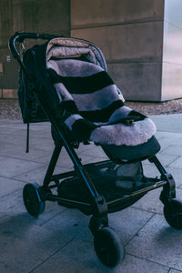 Sheepskin Pram Liner in grey and black stripe