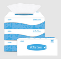 60pcs Facial Cotton Tissue Dry and Wet Use (1box)