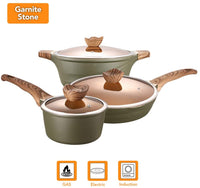 CHEFIO 6-Piece Nonstick Granite Stone Coating Cookware Set