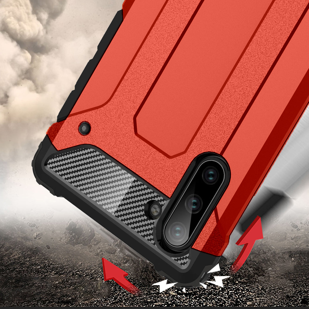 HYTX Galaxy Note 10 Case Armor ( Red )