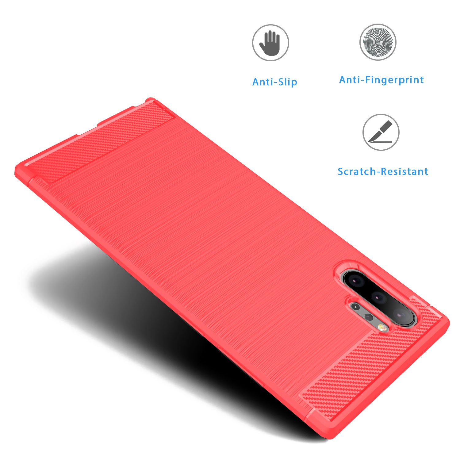 HYTX Galaxy Note 10+ Case Carbon Fiber ( Red )