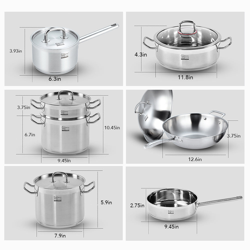 12 Piece Tri-ply Stainless Steel Cookware Set, Induction Ready, Dishwasher Safe