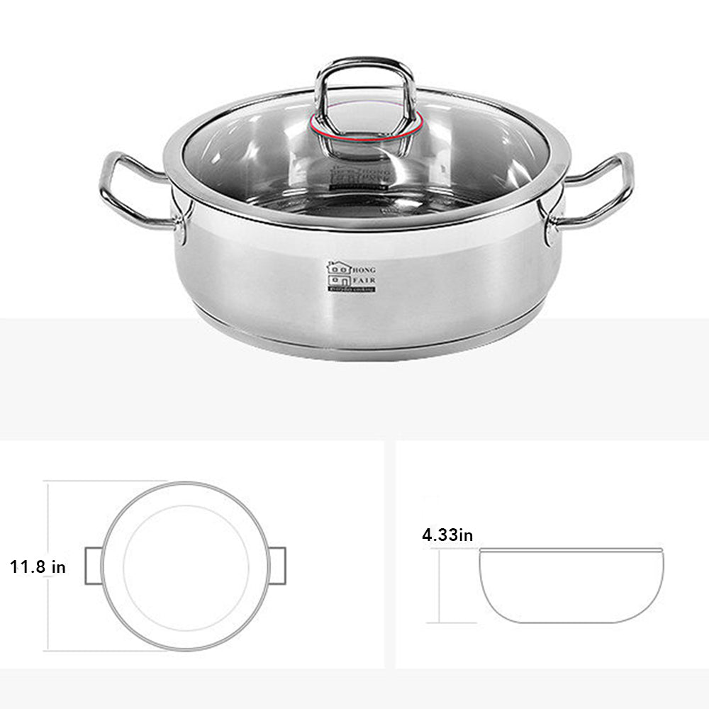 7-Quart Stainless Steel Stockpot with Tempered Glass Lid, 12 Inches