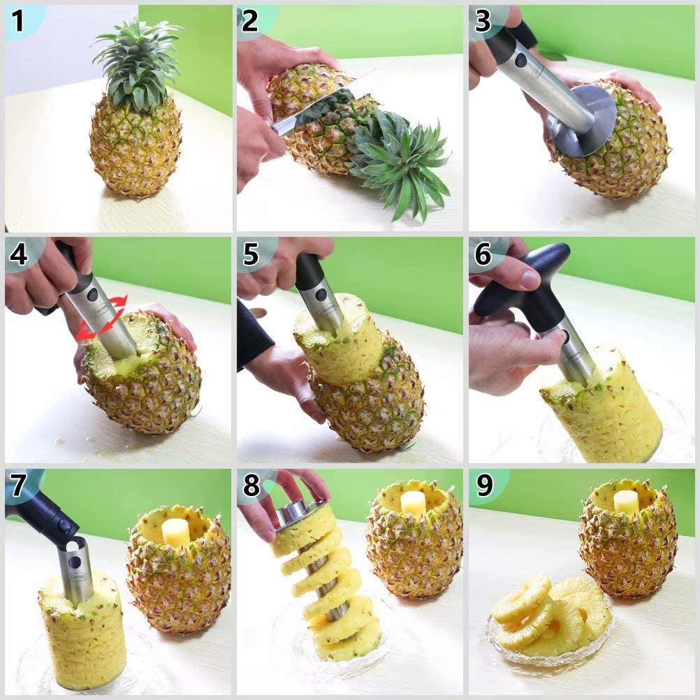 HYTX Pineapple Corer, Stainless Steel Pineapple Core Remover Tool (3 PK)