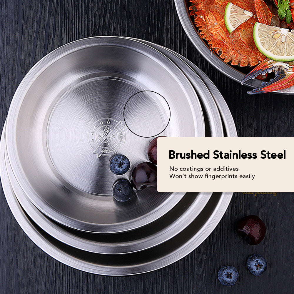 HYTX 4 PCS Stainless Steel Round Pan/Plate Set (7 to 9.5 Inch)