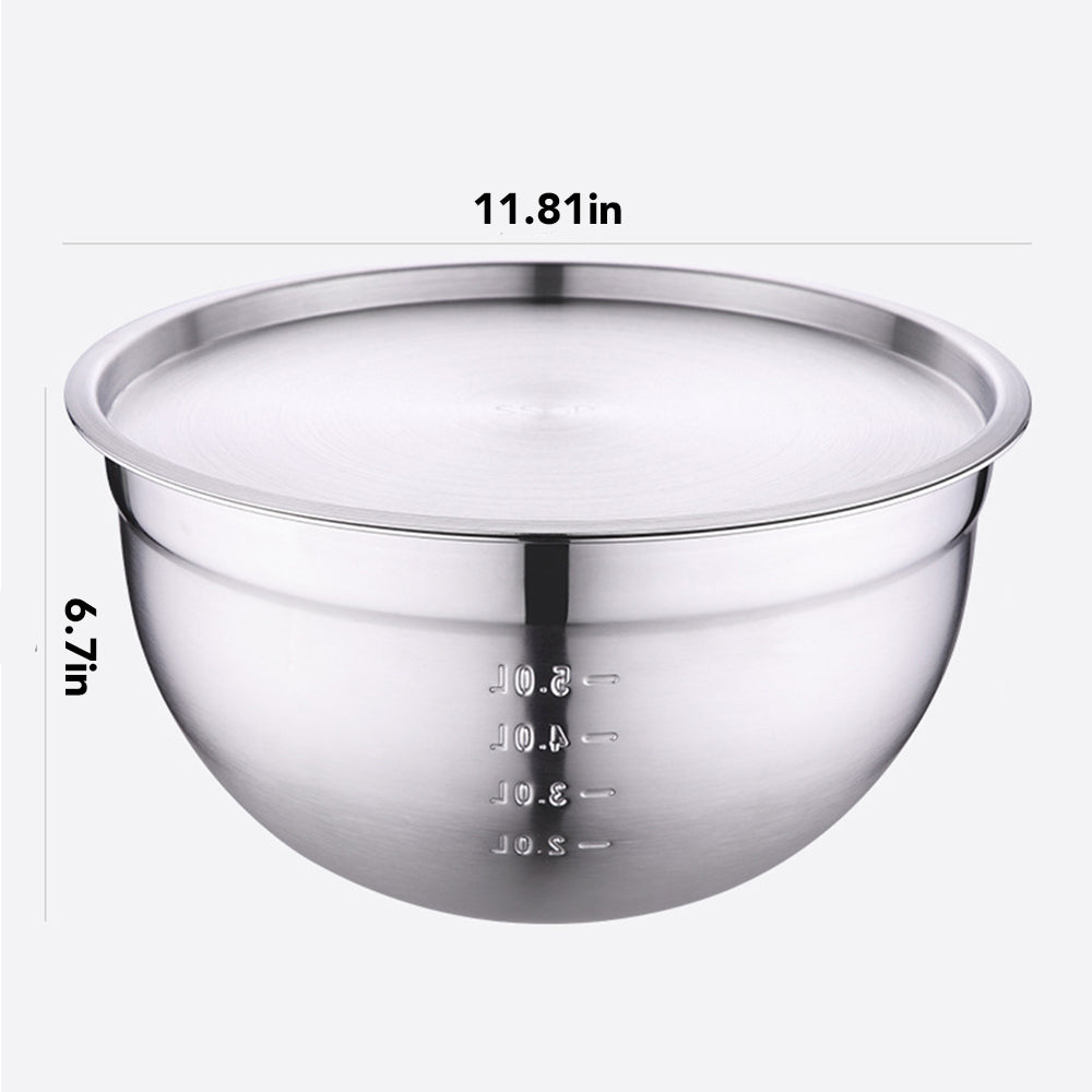 HYTX 5 Quarts Stainless Steel Washing Bowl with Lid
