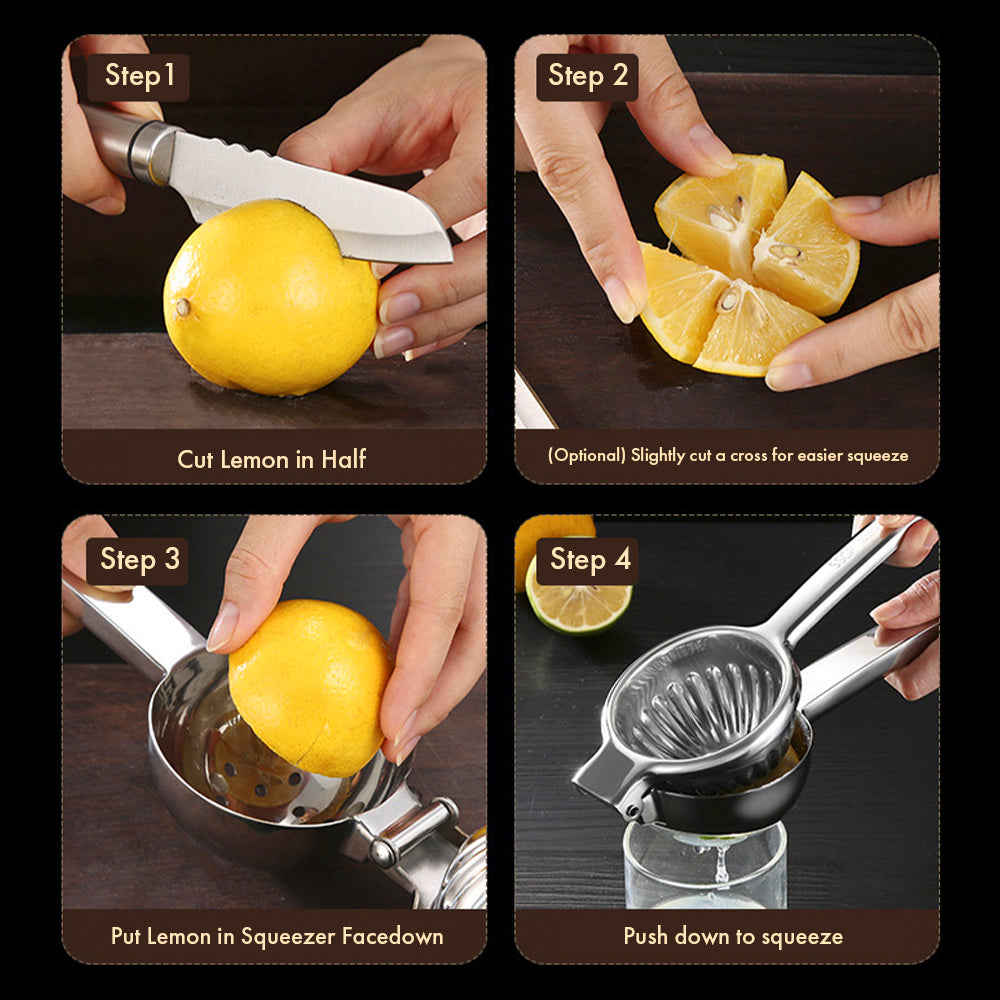 HYTX Lemon/Citrus Squeezer - Stainless Steel High Quality Heavy Duty Solid Metal