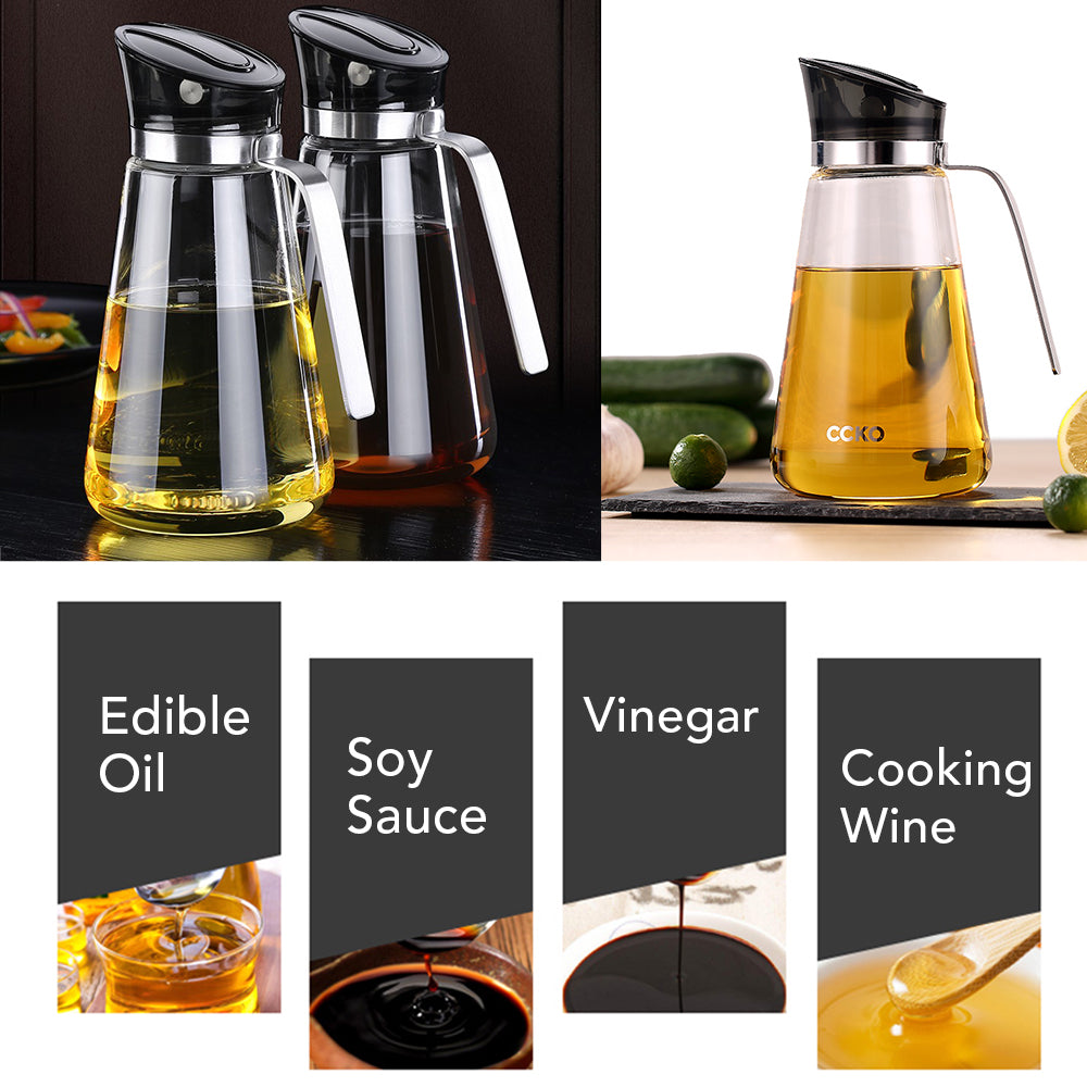 HYTX 17 Oz Auto Flip Glass Olive Oil Dispenser Bottle With Automatic Cap