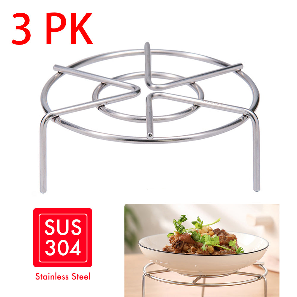 HYTX 5-Inch Stainless Steel Steamer Rack Stand With High Feet (3 PK)