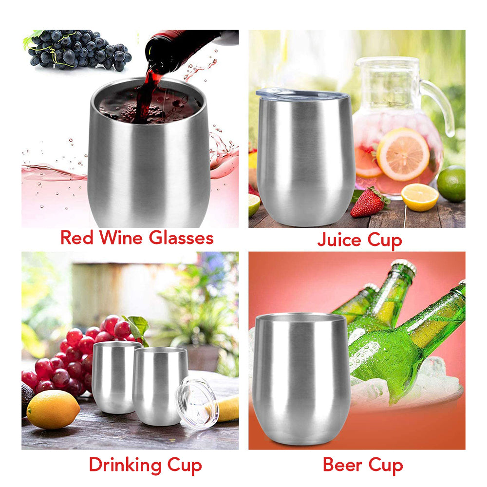 HYTX 12 oz Stainless Steel Wine Tumbler with Lid - Double Wall Vacuum Insulated Spill Proof Wine Cup (2 Pack Set)