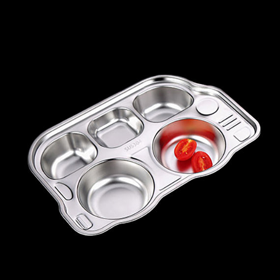 HYTX 5 Grid Stainless Steel Lunch Plate