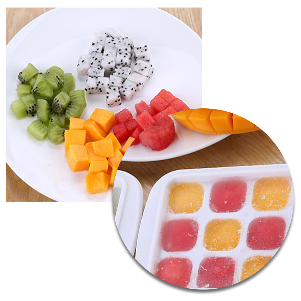 HYTX White Ice Cube Tray Easy Release With Lid (21 Cubes)