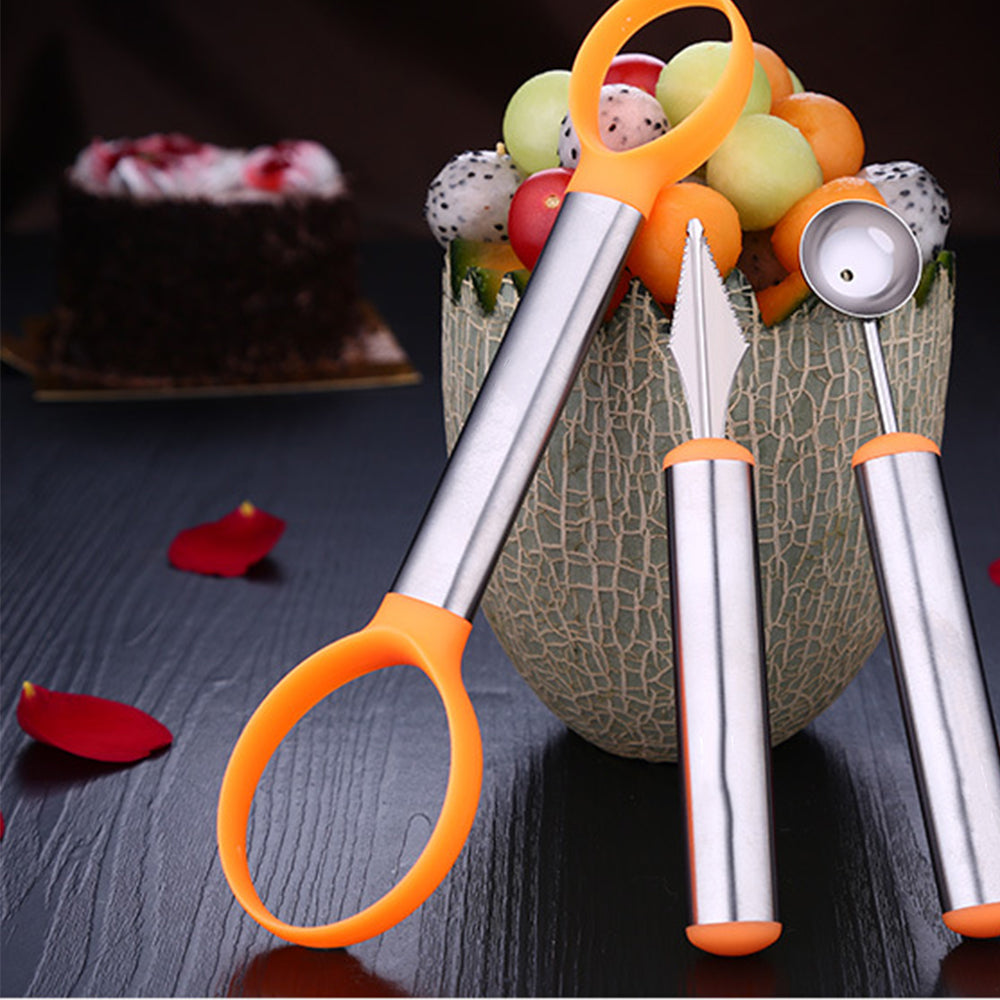 HYTX 3 PCS Stainless Steel Melon Baller & Carving Knife & Fruit Scoop
