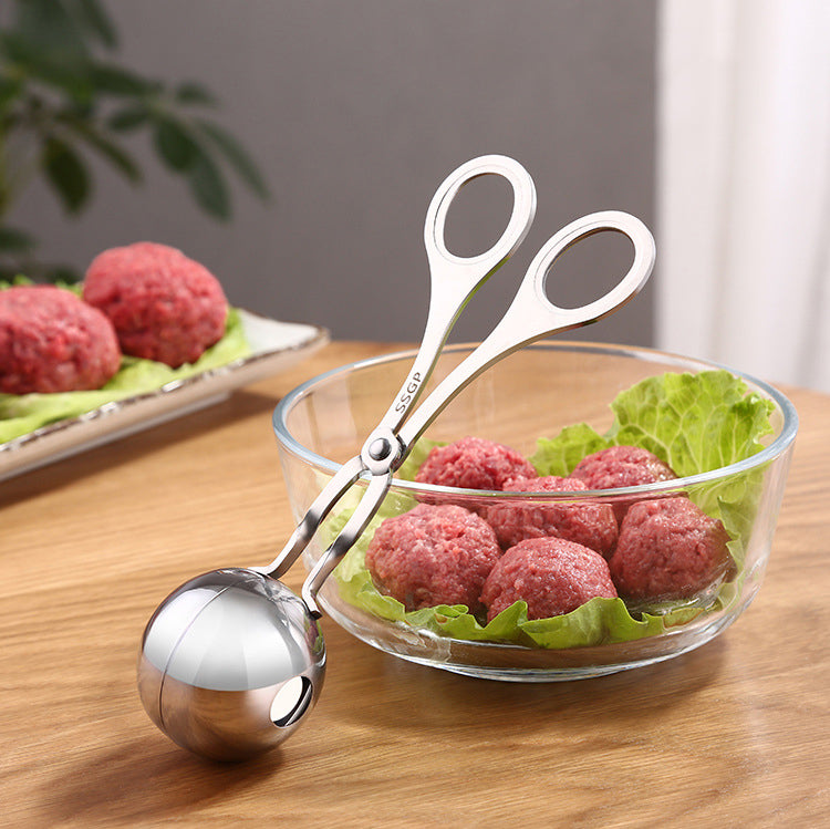 HYTX Meatball Scoop Ball Maker, Kmeivol Stainless Steel Tongs (7 Inches, 2PK)