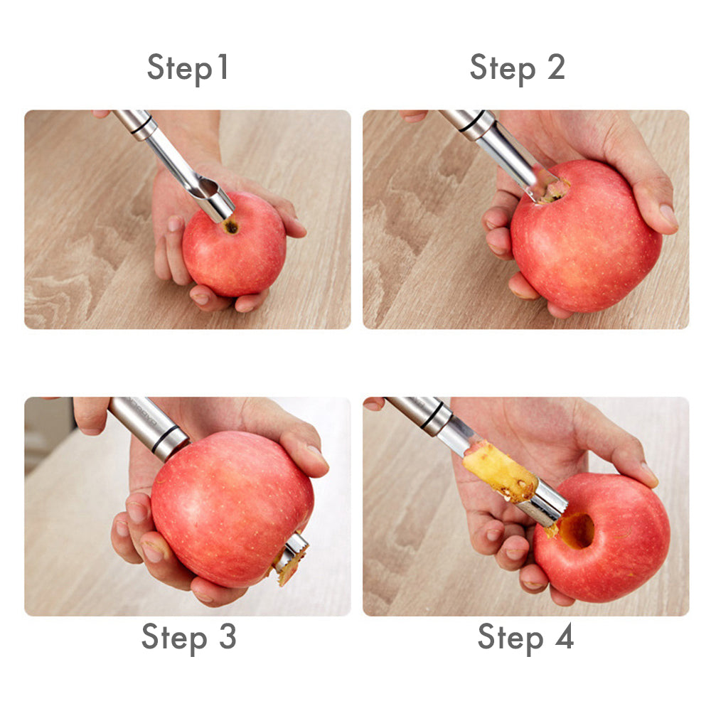 HYTX Stainless Steel Fruit Core Remover - Easy Twist Corer (2 PK)