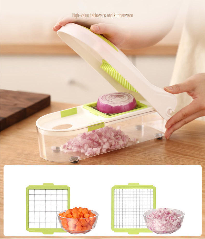 HYTX QuickPush Food Chopper with 2 Dicing Blades & Keep-Fresh Lid