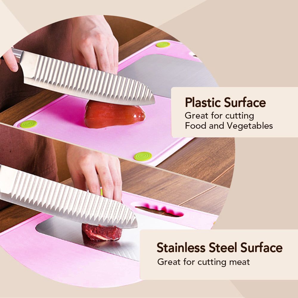 Double Sided Plastic Cutting Board with Stainless Steel Block