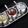 10pcs Set - Sugar Spice Bowl Set with Glass Lid, Spoon